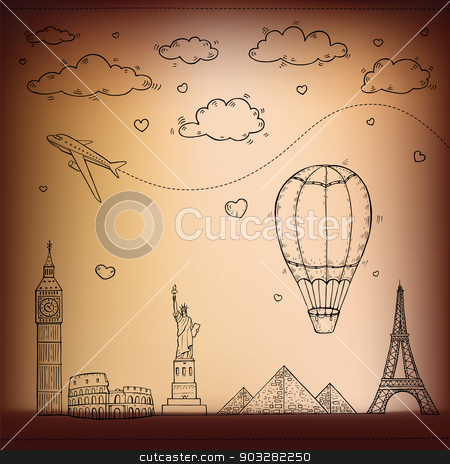 Travel and tourism background. stock photo, Travel and tourism background. Vector hand drawn illustration. by Katyau
