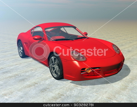 Red sportscar - 3D render stock photo, One red sportscar outdoor by morning light by Elenarts