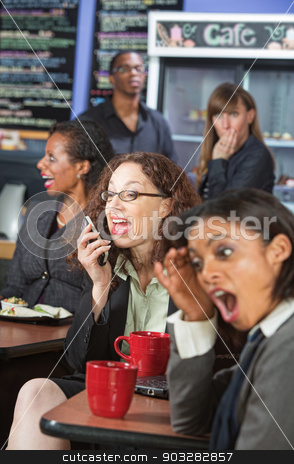 Loud Woman on Phone stock photo, Obnoxious woman talking loudly on cell phone in cafe by Scott Griessel