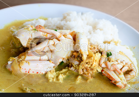 Cooked crabs with rice in yellow curry sauce stock photo, Cooked crabs with rice in yellow curry sauce with vegetables in white plate, thai food by Iryna Rasko
