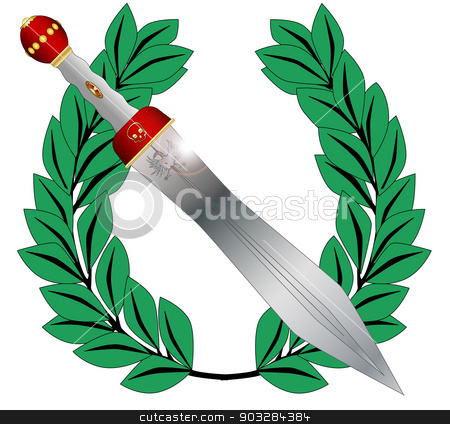 Winner stock vector clipart, A crown of olives and a gladiators sword isolated on a white background by Kotto