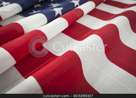 American Flag Abstract stock photo, Folded American Flag Abstract. by Andy Dean