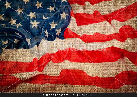 USA flag grunge background stock photo, USA flag grunge background by Sarka