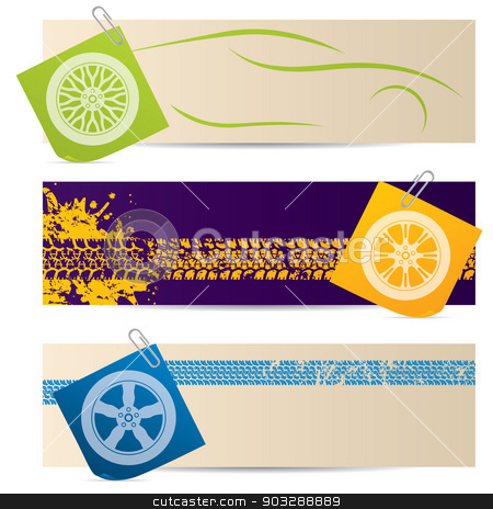 Tire labels with wheel silhouettes stock vector clipart, Tire labels with wheel silhouette post its by Mihaly Pal Fazakas