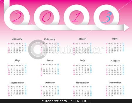 Swirling 2013 ribbon calendar design  stock vector clipart, New swirling 2013 ribbon arrow calendar design  by Mihaly Pal Fazakas