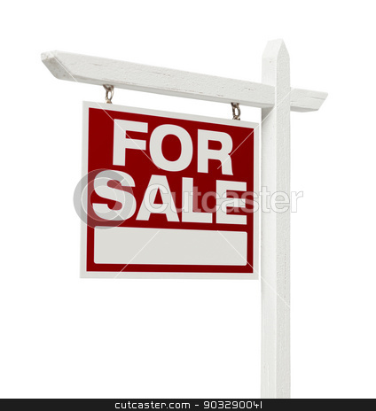 Home For Sale Real Estate Sign with Clipping Path stock photo, Left Facing Isolated on White Home For Sale Real Estate Sign with Clipping Path. by Andy Dean