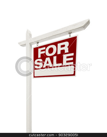 Home For Sale Real Estate Sign with Clipping Path stock photo, Right Facing Isolated on White Home For Sale Real Estate Sign with Clipping Path. by Andy Dean