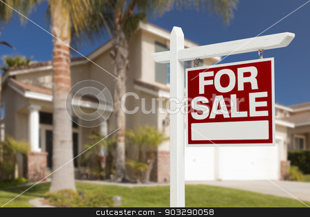 Home For Sale Sign in Front of New House stock photo, Home For Sale Real Estate Sign in Front of Beautiful New House. by Andy Dean