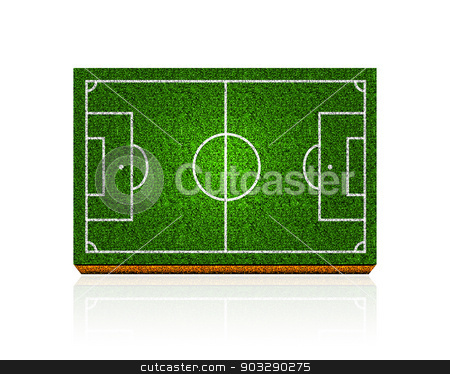 Soccer field stock photo, Soccer field with the texture of the grass and soil by sermax55