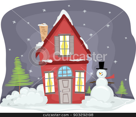 Winter House stock vector clipart, Illustration of a Snowman Standing Beside a Red House Covered in Snow by BNP