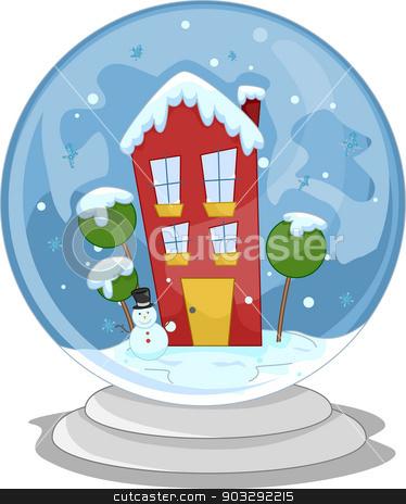 Snow Globe House stock vector clipart, Illustration of a Miniature House Inside a Snow Globe by BNP