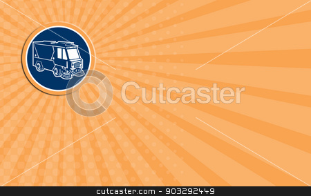 Business card Street Cleaner Truck Circle Retro stock photo, Business card showing illustration of a street cleaner truck sweeping cleaning from front set inside circle on isolated background done in retro style. by patrimonio