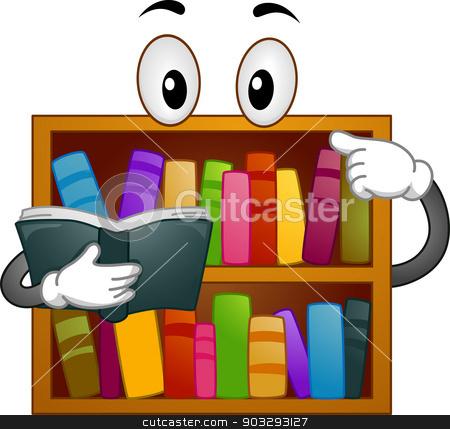 Bookshelf Mascot stock vector clipart, Mascot Illustration of a Bookshelf Reading a Book by BNP