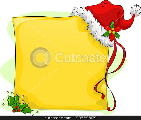 Christmas Board with Christmas Hat Background stock vector clipart, Background Illustration of Christmas Board with Christmas Hat and Holly Leaves by BNP