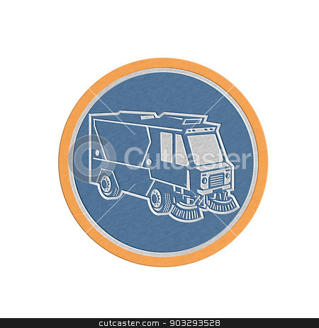 Metallic Street Cleaner Truck Circle Retro stock photo, Metallic styled illustration of a street cleaner truck sweeping cleaning from front set inside circle on isolated background done in retro style. by patrimonio