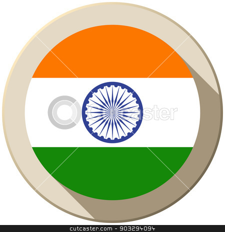 India Flag Button Icon Modern stock vector clipart, Vector - India Flag Button Icon Modern by Augusto Cabral Graphiste Rennes