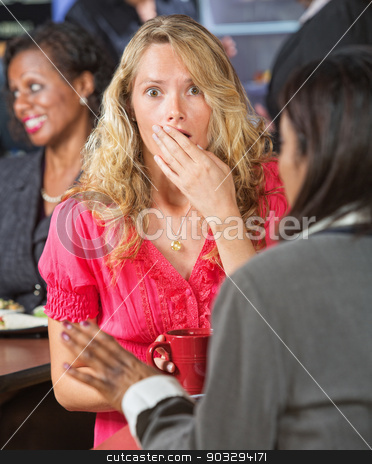 Surprised Woman stock photo, Surprised Caucasian woman with hand over mouth by Scott Griessel
