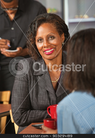 Lady in Restaurant stock photo, Smiling business woman in restaurant with friend by Scott Griessel