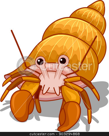 Hermit Crab stock vector clipart, Illustration of a Golden Hermit Crab with its Head Exposed by BNP