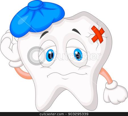 Sick tooth cartoon stock vector clipart, vector illustration of Sick tooth cartoon by Teguh Mujiono