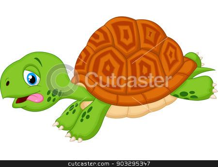 Cute turtle cartoon running stock vector clipart, vector illustration of Cute turtle cartoon running by Teguh Mujiono