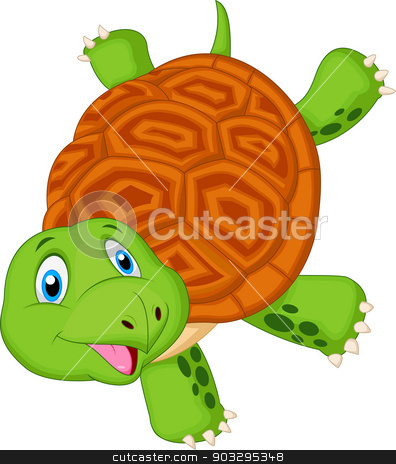 Cute turtle cartoon standing with hand stock vector clipart, vector illustration of Cute turtle cartoon standing with hand by Teguh Mujiono