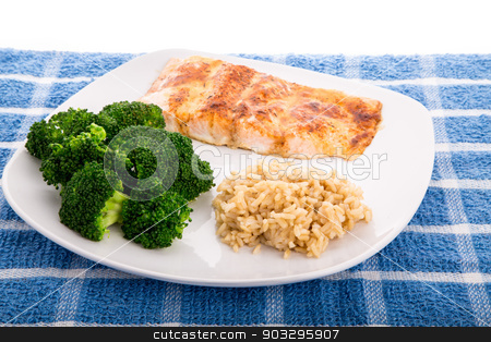 Salmon Broccoli and Brown Rice stock photo, Baked Salmon Fillet with Steamed Broccoli and Brown Rice by Darryl Brooks