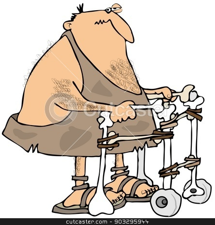 Caveman using a walker stock photo, This illustration depicts a caveman using a walker made of bones with stone wheels. by Dennis Cox