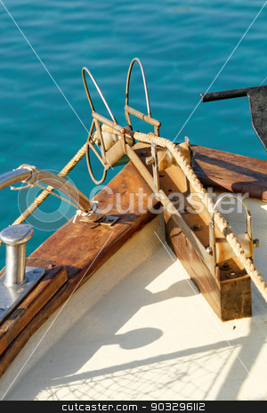 Boat deck stock photo, Photo of a boat deck on the sea by Nneirda