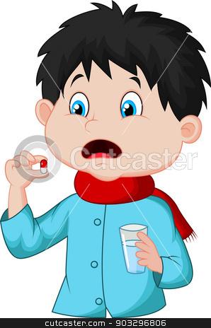 Sicked boy swallows pill stock vector clipart, vector illustration of Sicked boy swallows pill by Teguh Mujiono