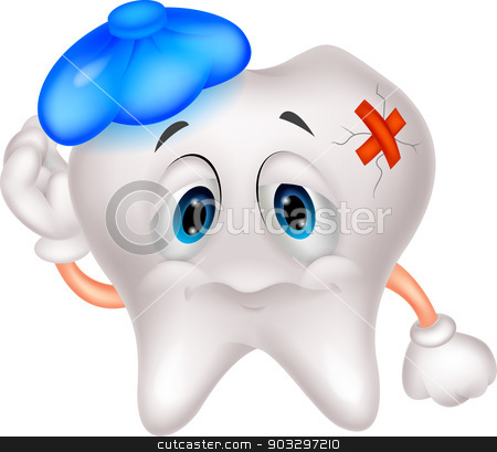 Sick tooth cartoon stock vector clipart, vector illustration of Sick tooth cartoon by Teguh Mujiono
