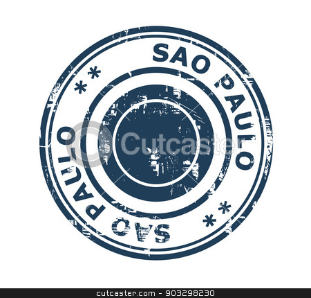 City of Sao Paulo stamp stock photo, Grunge stamp of the city of Sao Paulo in Brazil isolated on a white background. by Martin Crowdy