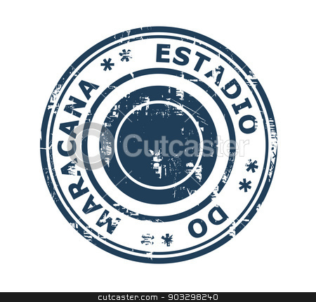 Eestadio do Macarana stamp stock photo, Eestadio do Macarana in Brazil grunge stamp isolated on a white background. by Martin Crowdy