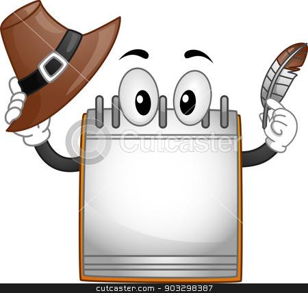 Calendar Mascot stock vector clipart, Thanksgiving Illustration Featuring a Calendar Mascot Holding a Quill Pen and a Pilgrim's Hat by BNP