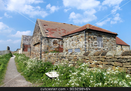 Farm in the countryside stock photo, Pathway past an old farm building in the countryside, North Yorkshire, England. by Martin Crowdy