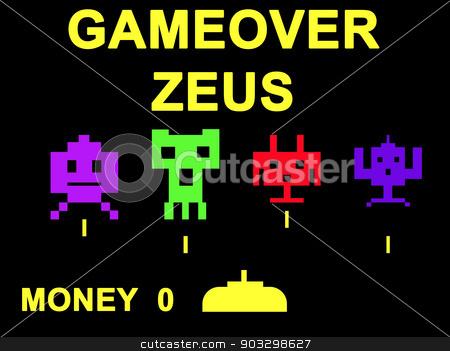 Gameover Zeus virus concept stock photo, Gameover Zeus virus concept using space invaders game. by Martin Crowdy
