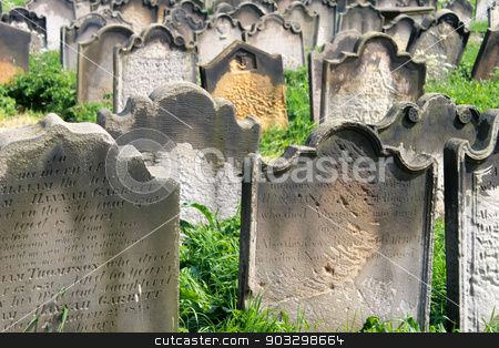 Graves in a Victorian cemetery stock photo, Scenic view of old graves from the 1700 and 1800's in a Victorian cemetery, Whiby, England. by Martin Crowdy