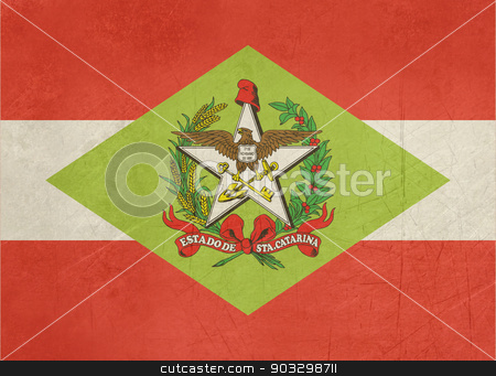 Grunge state flag of Santa Catarina in Brazil stock photo, Grunge state flag of Santa Catarina in Brazil by Martin Crowdy