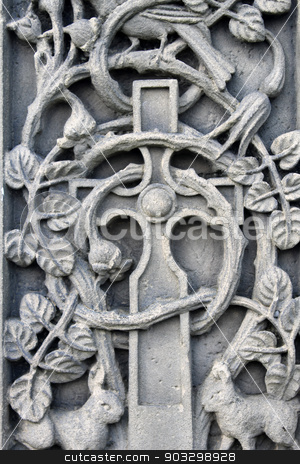 Historical religious engravings stock photo, Historical religious engravings dating from the Medieval ages on a memorial. by Martin Crowdy