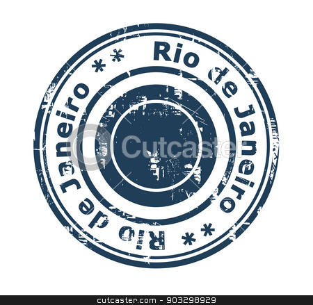 Rio de Janeiro Brazil stamp stock photo, Grunge stamp of the city of Rio de Janeiro in Brazil isolated on a white background. by Martin Crowdy