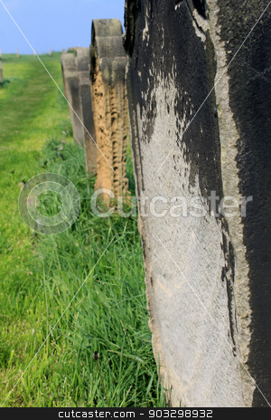 Row of old graves in a cemetery stock photo, Row of old graves in a cemetery receding into the distance. by Martin Crowdy