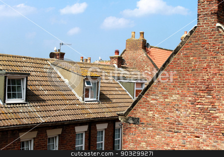 Tiled house rooftops stock photo, Tiled house rooftops in the town of Whitby, North Yorkshire, England. by Martin Crowdy