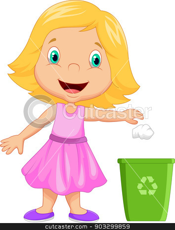 Young girl throwing trash into litter bin stock vector clipart, vector illustration of Young girl throwing trash into litter bin by Teguh Mujiono