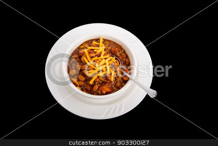 Chili with Cheese on Black stock photo, White bowl of chili con carne with beans and grated cheddar cheese on a black background by Darryl Brooks