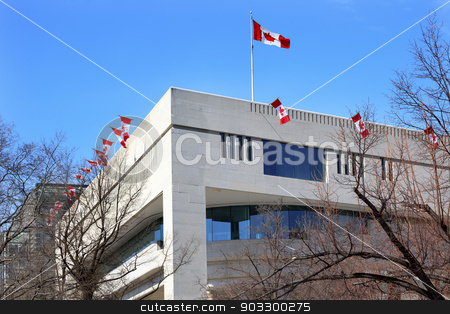 Canada Flags Embassy Pennsylvania Ave Washington DC stock photo, Canadian Flags Canada Embassy Pennsylvania Ave Washington DC.    by William Perry