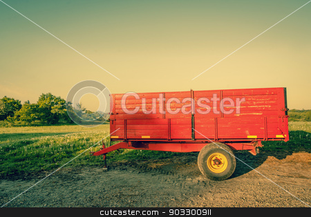Red wagon on a countryside location stock photo, High resolution photo in best quality by Kasper Nymann