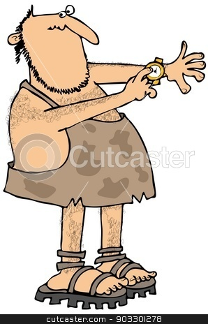 Caveman checking the time stock photo, This illustration depicts a caveman checking the time on his wristwatch. by Dennis Cox
