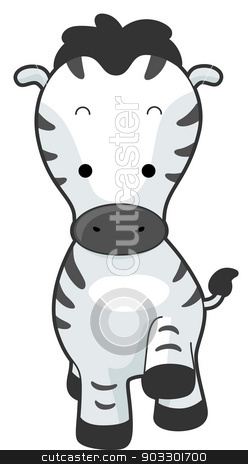 Zebra Front stock vector clipart, Illustration of a Zebra with its Hoof Raised  by BNP