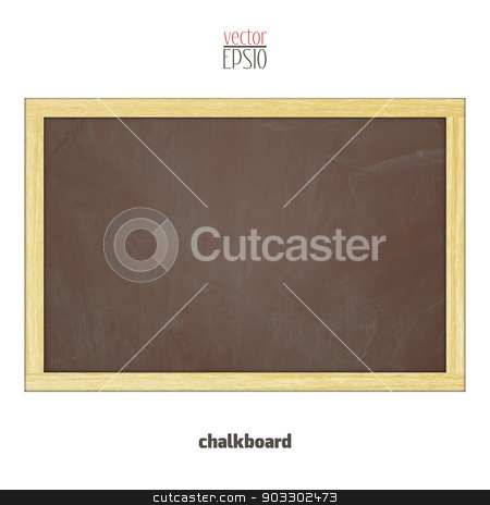 blackboard stock vector clipart, brown school chalkboard with wooden frame isolated on white background by metrue