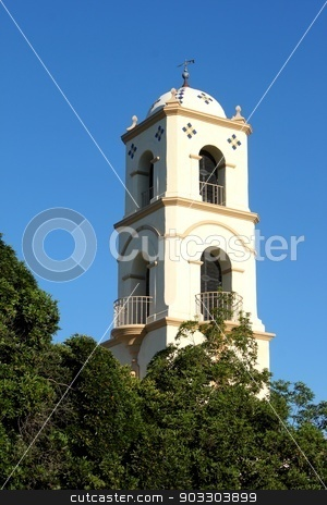 Ojai Post Office Tower stock photo, The Ojai post office tower in the middle of the city. by Henrik Lehnerer